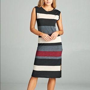NEW GORGEOUS EMERALD striped midi dress